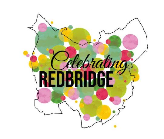 An outline drawing of Redbridge borough filled in with multicoloured circles and the text 'Celebrating Redbridge' in black.