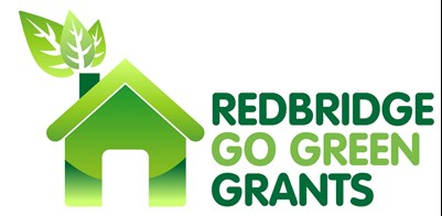 A graphic icon of a green house with leaves coming out of the chimney next to the text, 'Redbridge Go Green Grants'.
