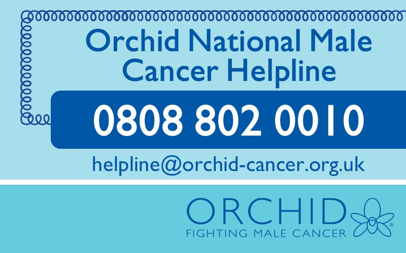 Poster with the Orchid Nation Male Cancer Helpline number and email address