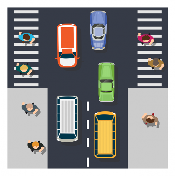 A cartoon of a road from an aerial view with driving cars and walking pedestrians at the sides.