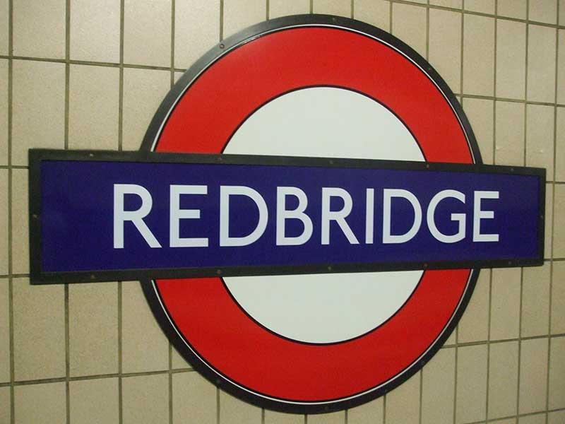 Sign at Redbridge tube station