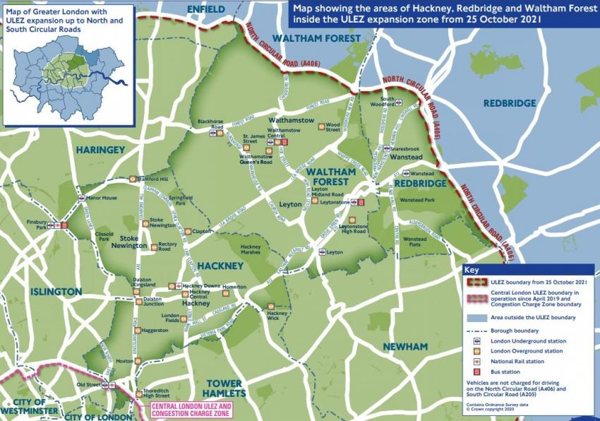 A map showing some of the ULEZ expansion zone