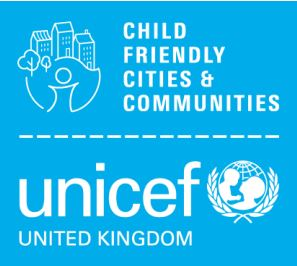 The UNICEF UK CFC logo: 'Child Friendly Communities and Cities' in white writing next to a drawing of a cityscape on a blue background with 'UNICEF UK' below next to a globe.