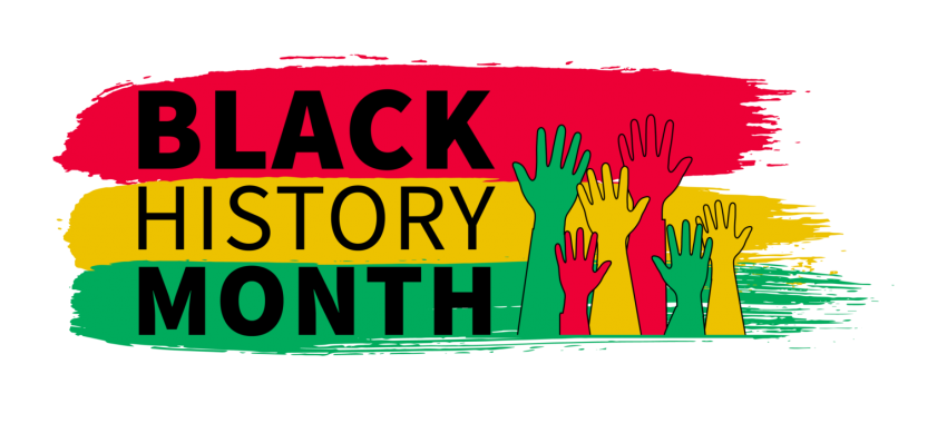 The words 'Black History Month' written in black against painted red, green and yellow stripes with drawings of red, green and yellow raised hands next to them.