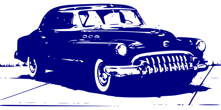 A graphic illustration of an antique car in monochrome blue.