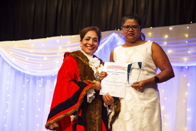 Mayor with a award winner