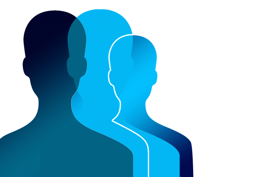 vector outline of a few people colored in blue