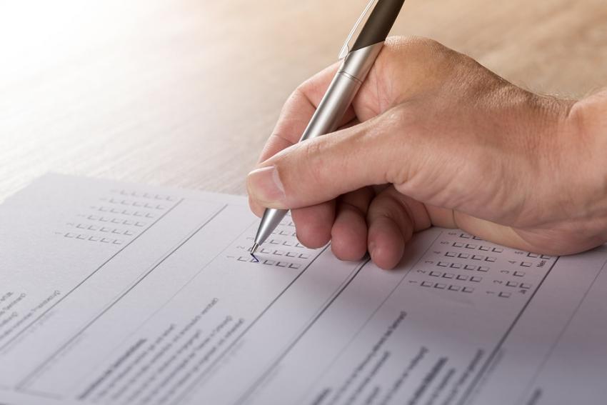 Filling out a survey
